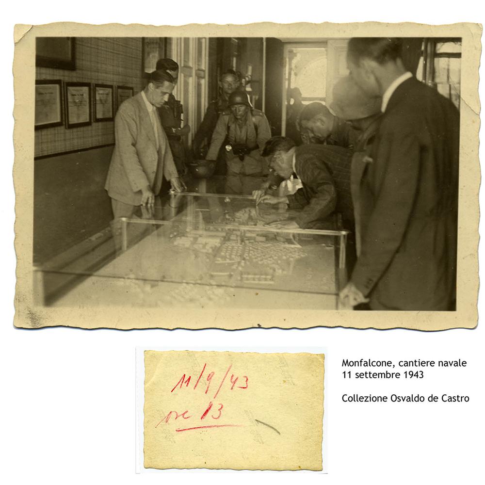 Marcello de Castro nel cantiere navale di Monfalcone. Settembre 1943